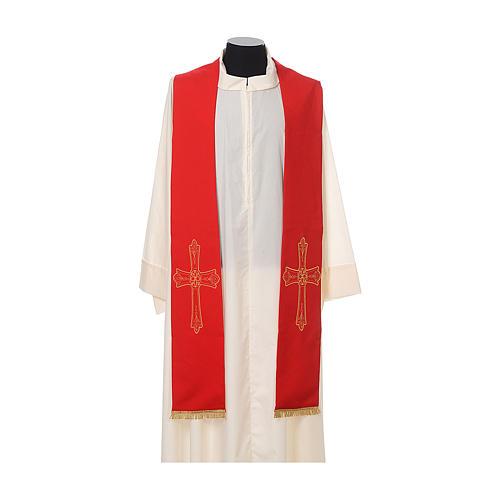 Étole prêtre broderie dorée croix sur deux côtés polyester 3