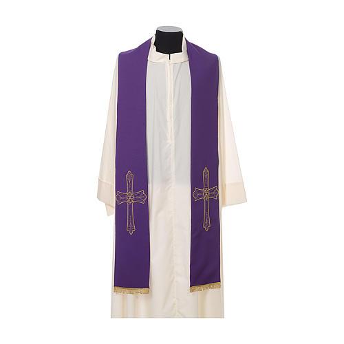 Étole prêtre broderie dorée croix sur deux côtés polyester 6