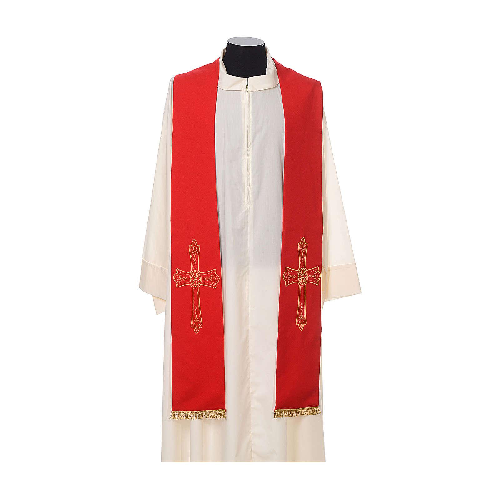 Stuła kapłańska haft złoty krzyż dwustronny 100% poliester 4