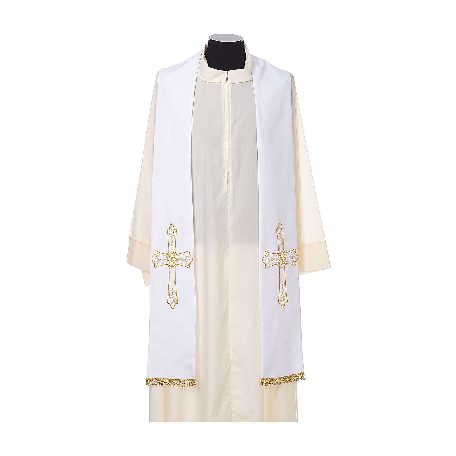 Estola sacerdotal bordado dourado cruz ambos lados 100% poliéster 4