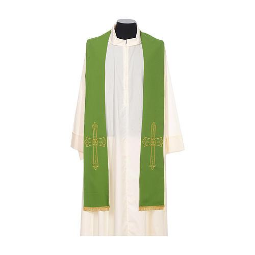 Estola sacerdotal bordado dourado cruz ambos lados 100% poliéster 2