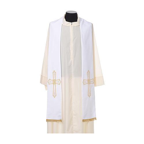 Estola sacerdotal bordado dourado cruz ambos lados 100% poliéster 5