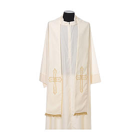 Clergy Stole with golden Cross embroidery 100% polyester s4