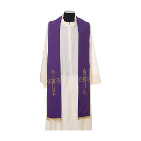 Clergy Stole with golden Cross embroidery 100% polyester s6