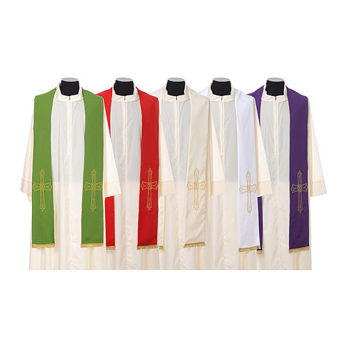 Clergy Stole with golden Cross embroidery 100% polyester 1
