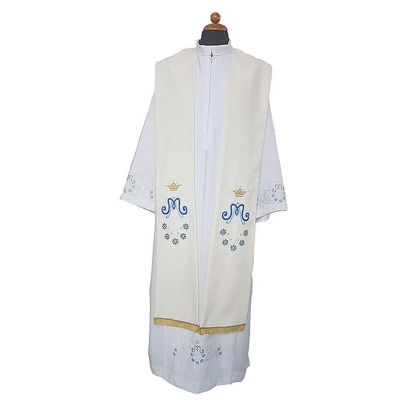 Étole mariale marguerite sur deux côtés tissu Vatican polyester 4