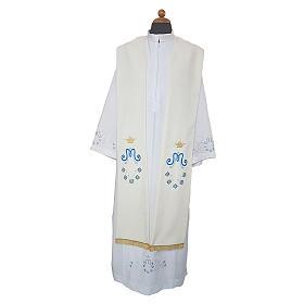 Étole mariale marguerite sur deux côtés tissu Vatican polyester s1