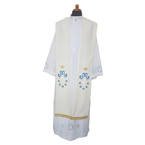 Étole mariale marguerite sur deux côtés tissu Vatican polyester 1