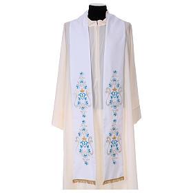 Étole mariale roses sur deux côtés tissu Vatican polyester s1