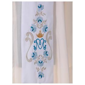 Étole mariale roses sur deux côtés tissu Vatican polyester s2