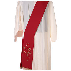 Deacon Stole double-sided Cross JHS embroidery, Vatican polyester s2