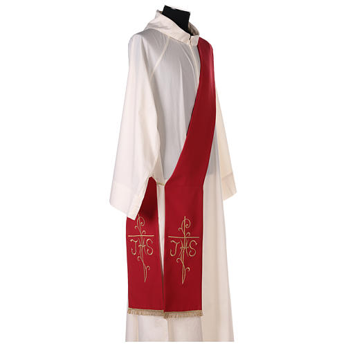 Deacon Stole double-sided Cross JHS embroidery, Vatican polyester 3