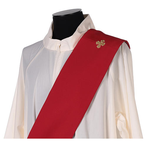 Deacon Stole double-sided Cross JHS embroidery, Vatican polyester 5