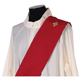 Étole diaconale broderie croix IHS avant arrière tissu Vatican s5