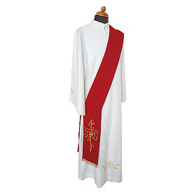 Stola diaconale ricamo croce JHS fronte retro tessuto Vatican s1
