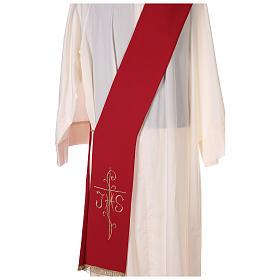 Stola diaconale ricamo croce JHS fronte retro tessuto Vatican s2