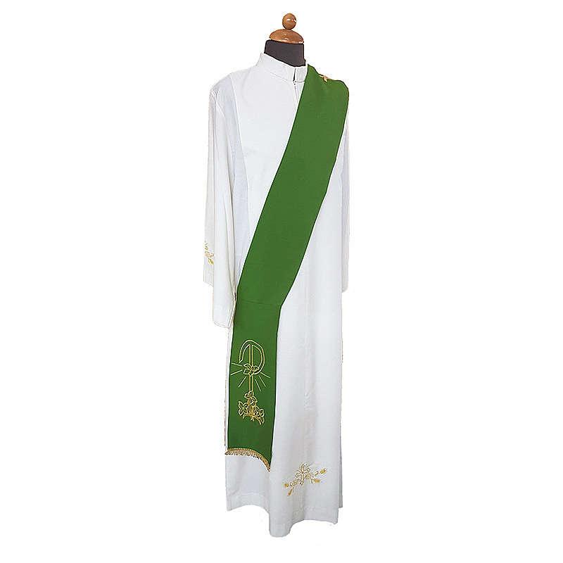 Estola diaconal bordado Paz Lirios doble cara tejido Vatican 4