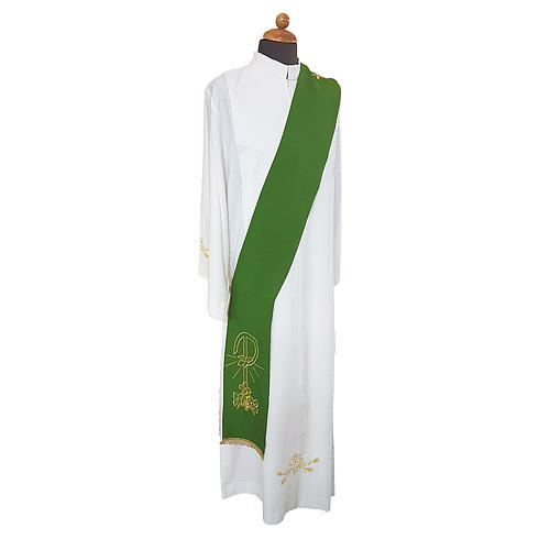 Estola diaconal bordado Paz Lirios doble cara tejido Vatican 1
