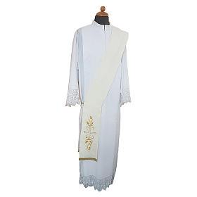 Étole de diacre broderie croix épis avant arrière tissu Vatican s1