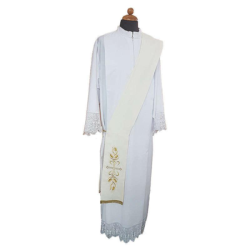 Stola da diacono ricamo croce spighe davanti dietro tessuto Vatican 4