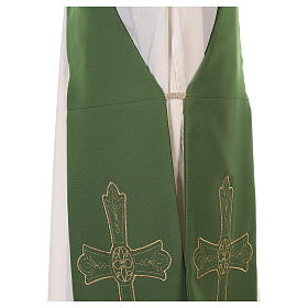 Deacon Stole Vatican fabric double-sided Cross and flower s9