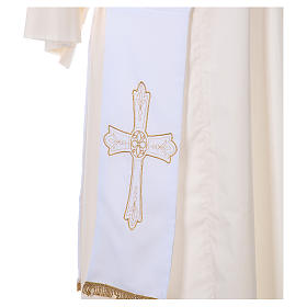 Deacon Stole Vatican fabric double-sided Cross and flower s2