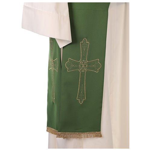 Deacon Stole Vatican fabric double-sided Cross and flower 6