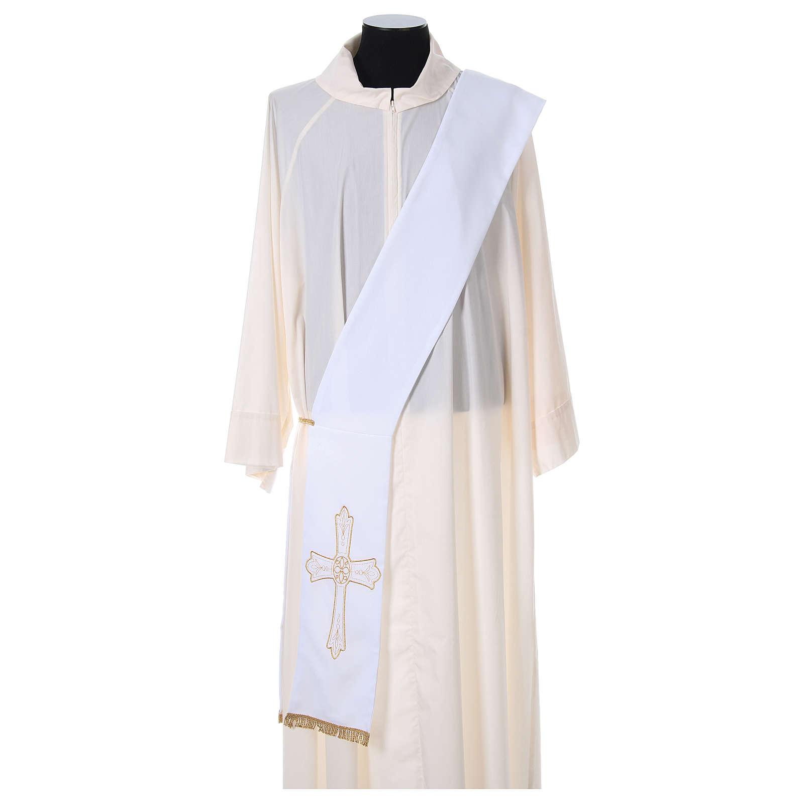 Estola diaconal tejido Vaticano cruz flor doble cara 4