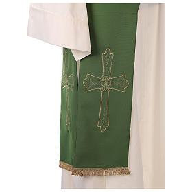 Estola diaconal tejido Vaticano cruz flor doble cara s6