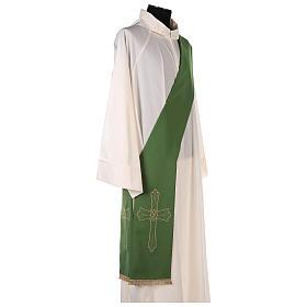 Estola diaconal tejido Vaticano cruz flor doble cara s7