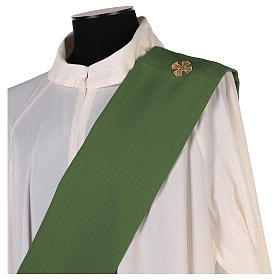 Estola diaconal tejido Vaticano cruz flor doble cara s10