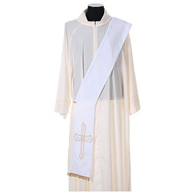Estola diaconal tejido Vaticano cruz flor doble cara s1