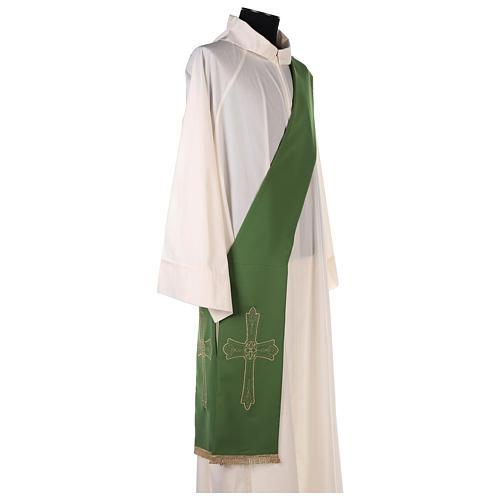 Estola diaconal tejido Vaticano cruz flor doble cara 7
