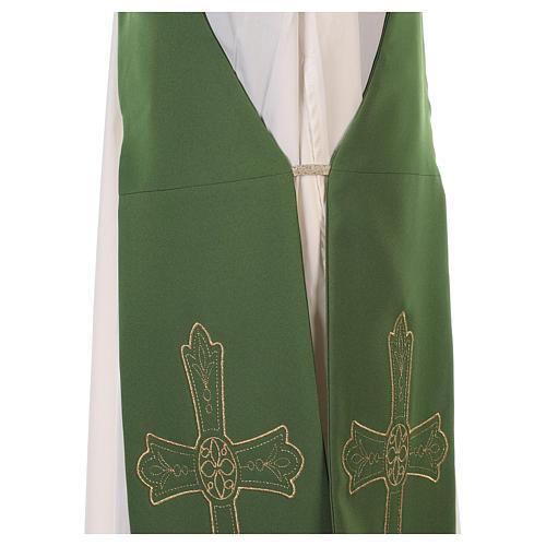 Estola diaconal tejido Vaticano cruz flor doble cara 9