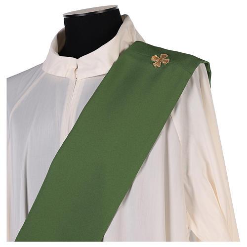Estola diaconal tejido Vaticano cruz flor doble cara 10