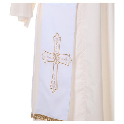 Estola diaconal tejido Vaticano cruz flor doble cara 2