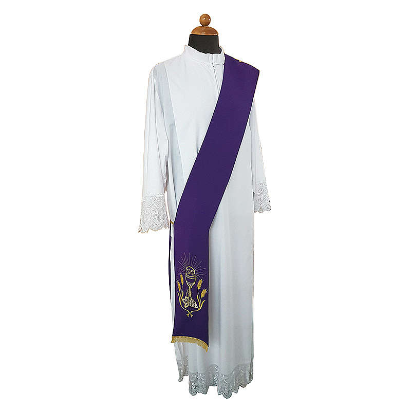 Deacon Stole double-sided Chalice Grapes Spikes embroidery polyester 4