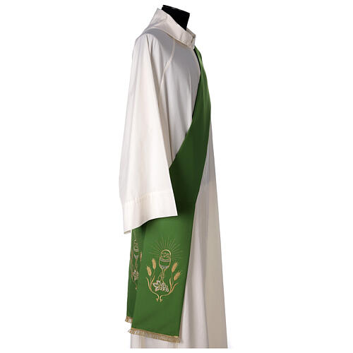 Deacon Stole double-sided Chalice Grapes Spikes embroidery polyester 3