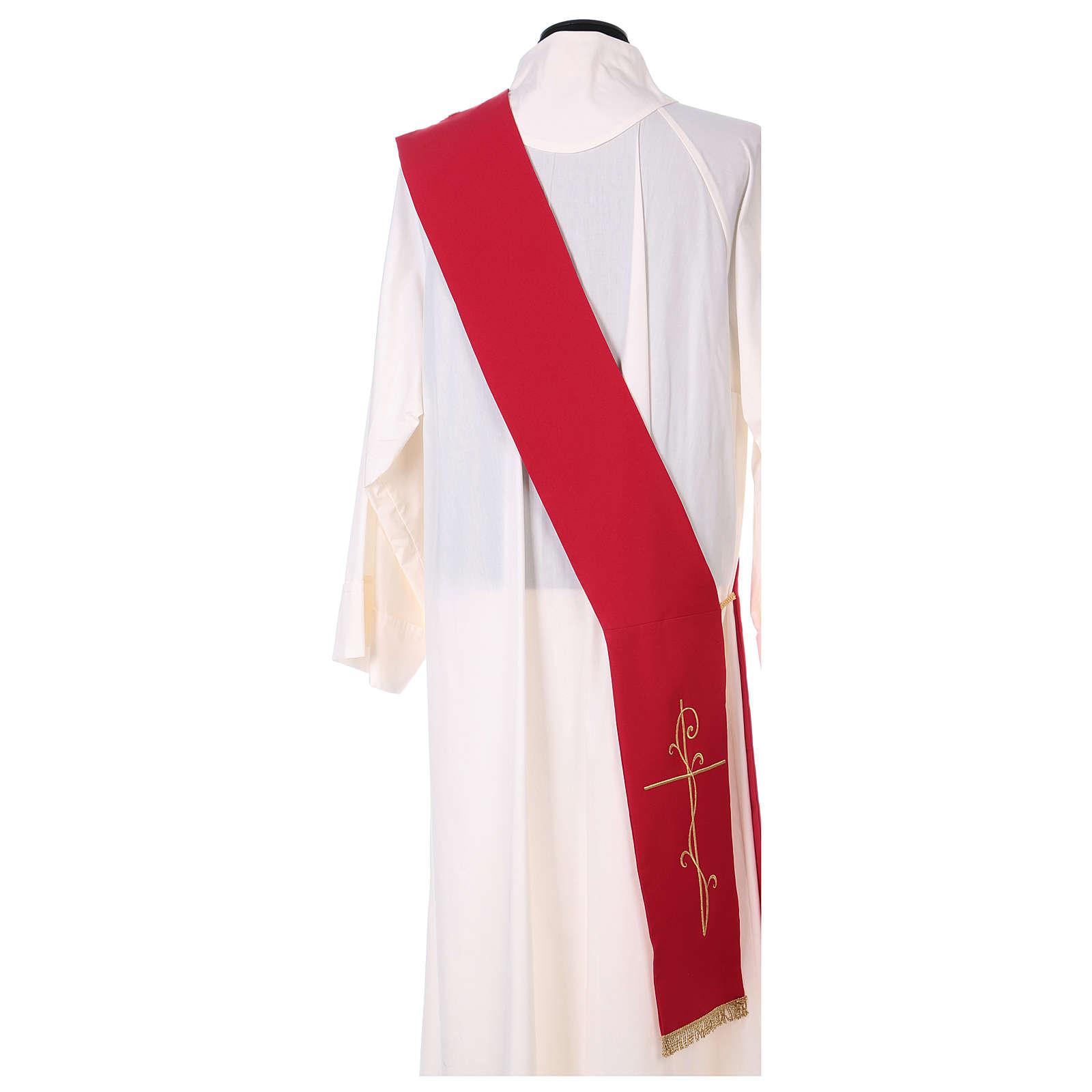 Étole pour diacre broderie croix avant arrière tissu polyester Vatican 4