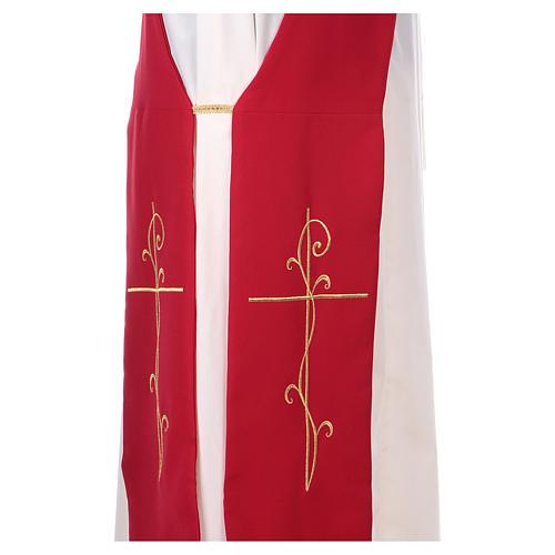 Étole pour diacre broderie croix avant arrière tissu polyester Vatican 2