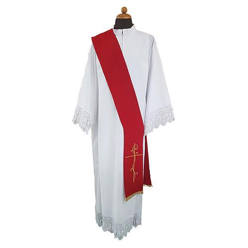 Stola per diacono ricamo croce fronte retro tessuto poliestere Vatican 1
