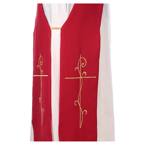 Stola per diacono ricamo croce fronte retro tessuto poliestere Vatican 2