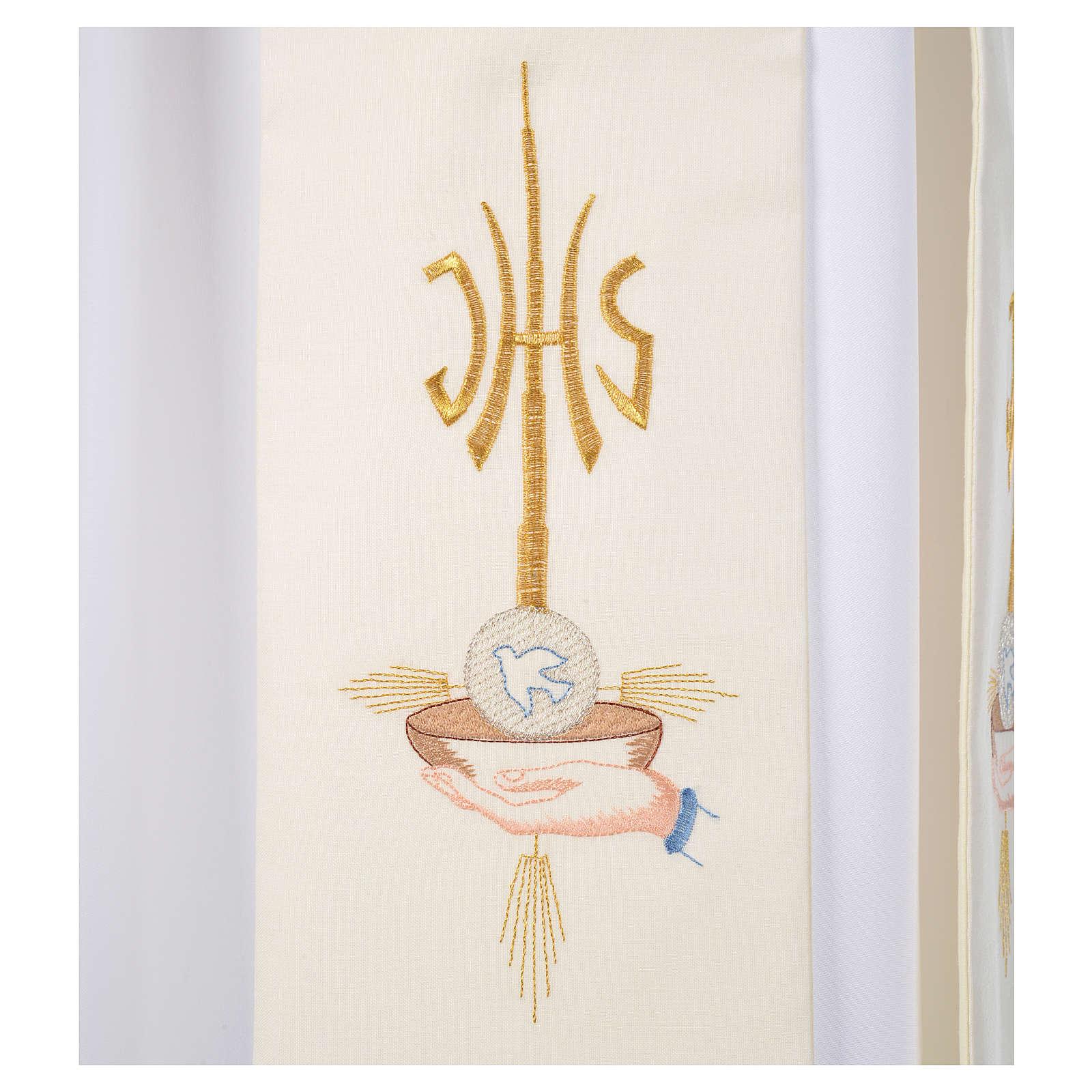 Diacon stole hands paten host and dove, JHS symbol 4