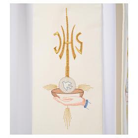 Diacon stole hands paten host and dove, JHS symbol s3