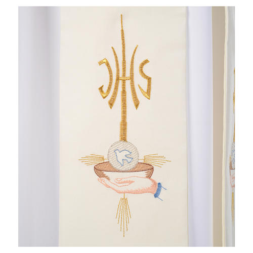 Diacon stole hands paten host and dove, JHS symbol 3