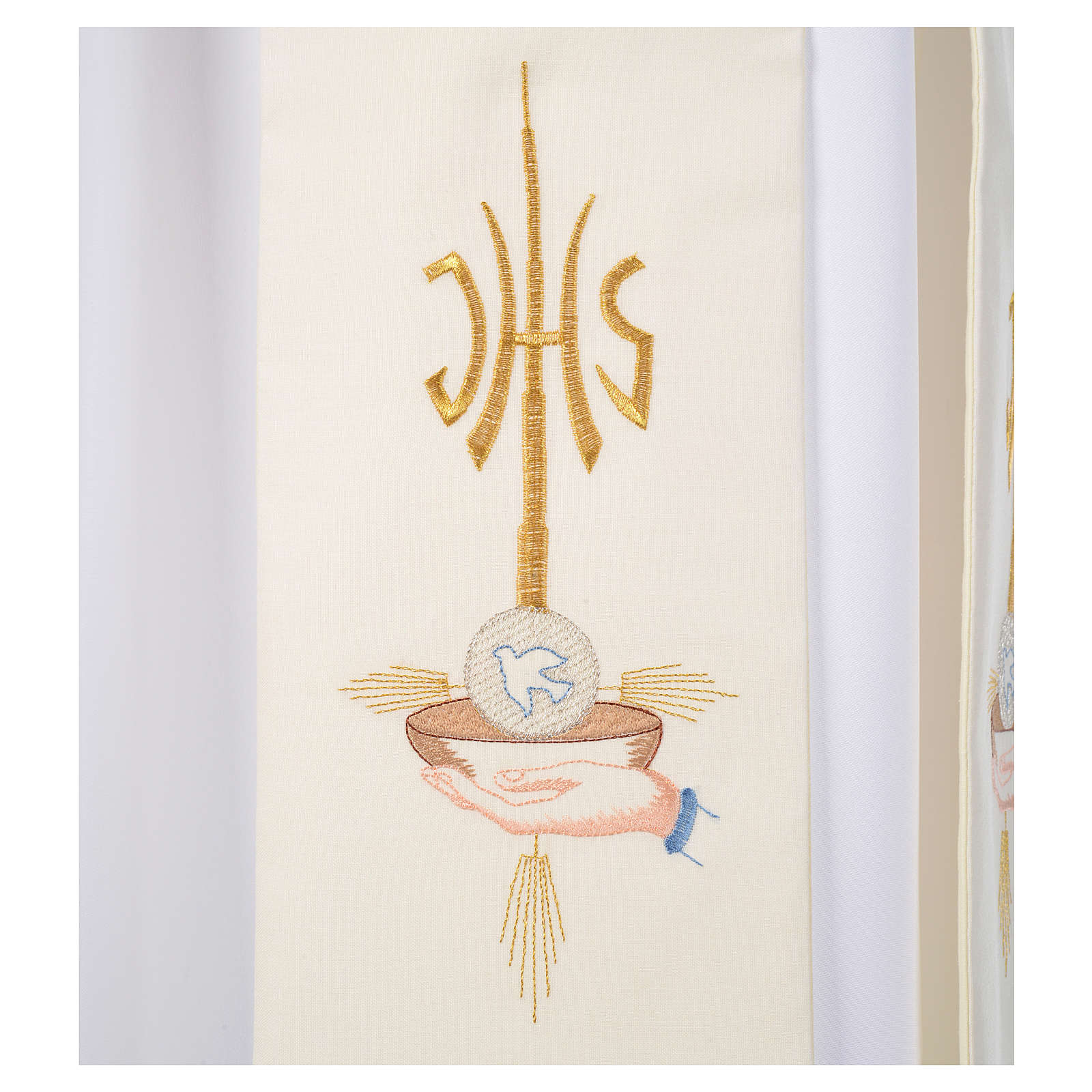 Stola diaconale mani patena ostia colomba JHS 4