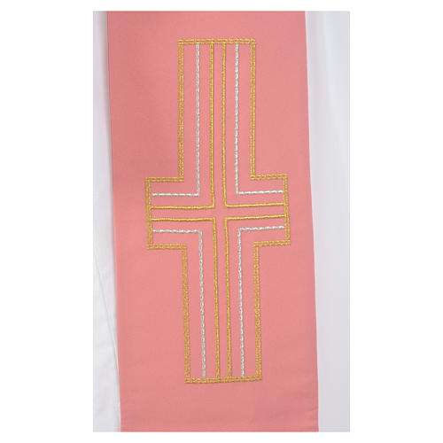 Pink diacon stole Alpha and Omega 100% polyester 4