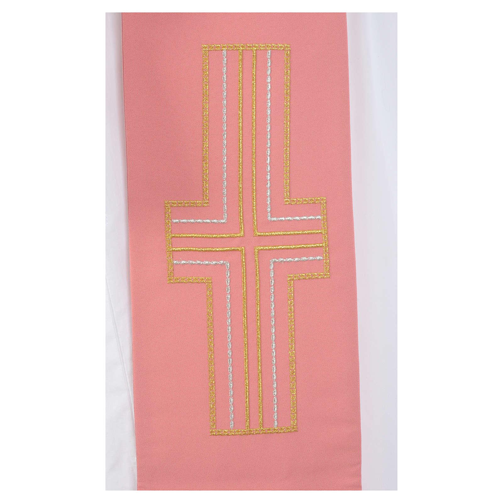 Estola diaconal rosa 100% poliéster alfa y omega 4