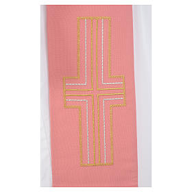 Estola diaconal cor-de-rosa 100% poliéster alfa e ómega s4