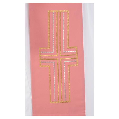 Estola diaconal cor-de-rosa 100% poliéster alfa e ómega 4